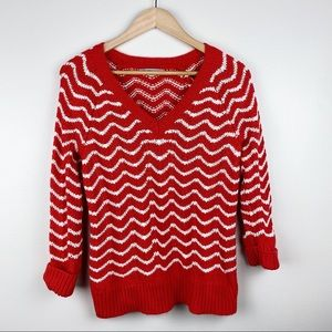 GAP Red/White Patterned Knit Sweater